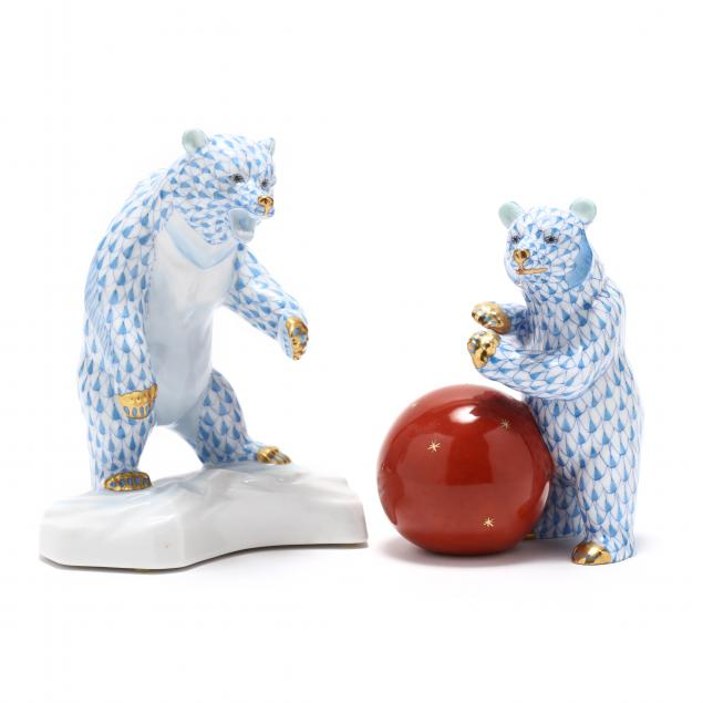 two-herend-porcelain-bear-figures