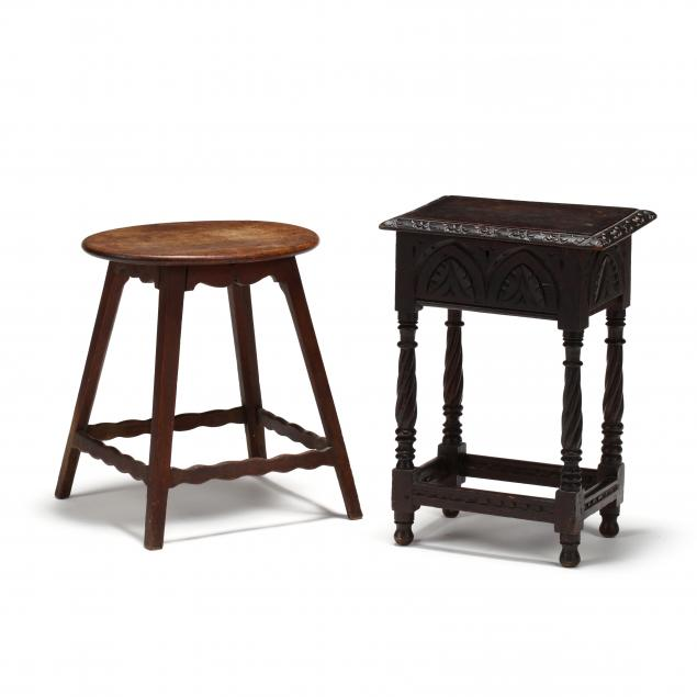 two-vintage-english-oak-low-stands