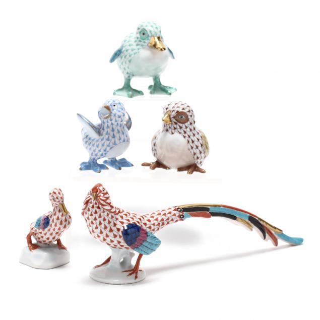 a-group-of-five-herend-porcelain-fowl