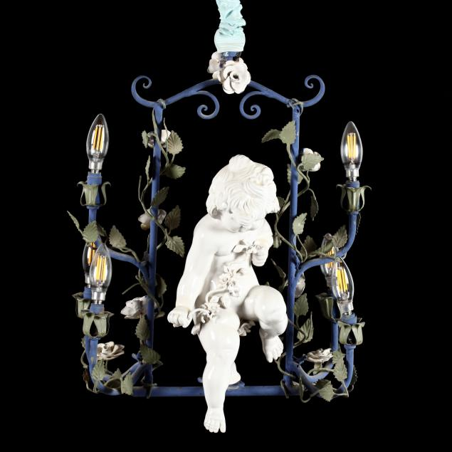 italian-tole-and-ceramic-cupid-chandelier