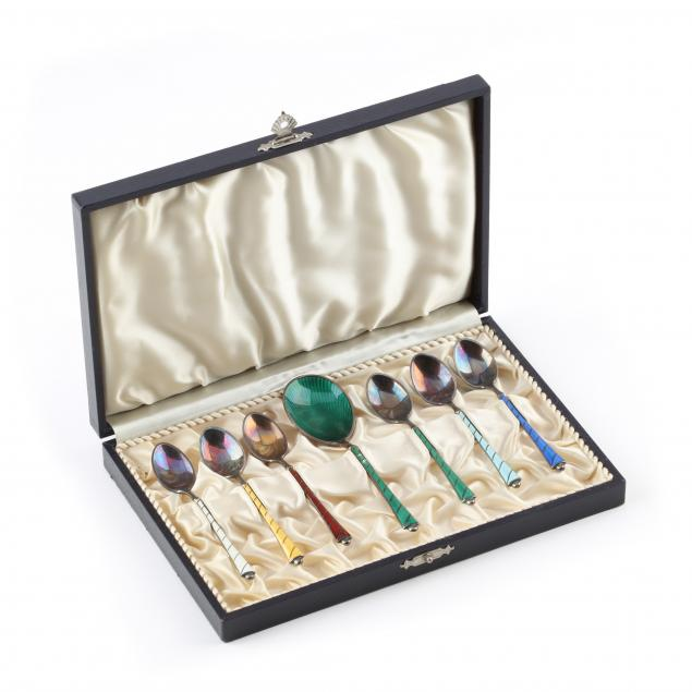 a-set-of-seven-danish-sterling-silver-and-enamel-demitasse-spoons
