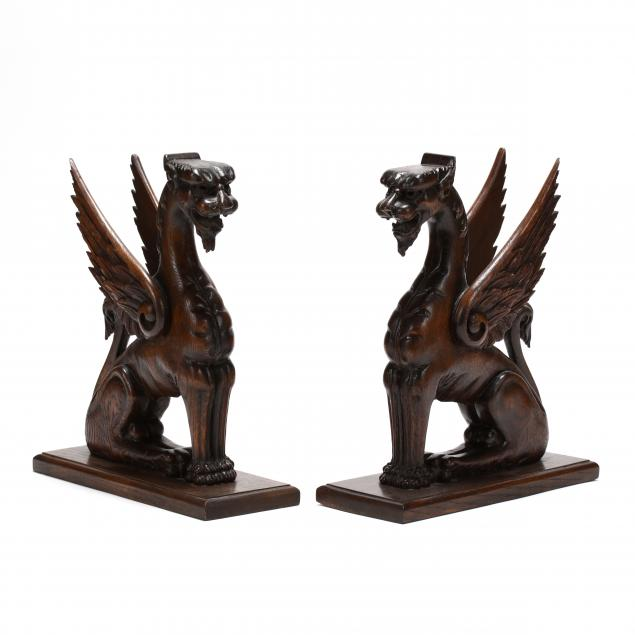 pair-of-carved-oak-winged-griffins