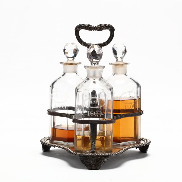 three-decanters-with-silver-presentation-tray
