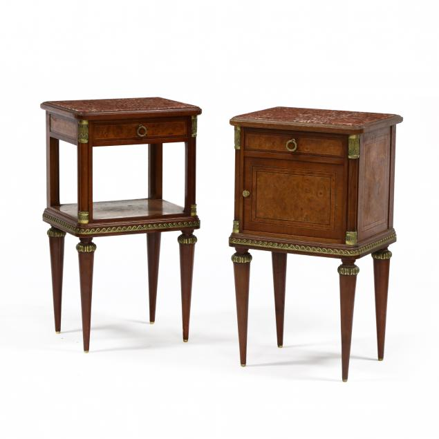 two-french-inlaid-mahogany-and-marble-top-side-stands