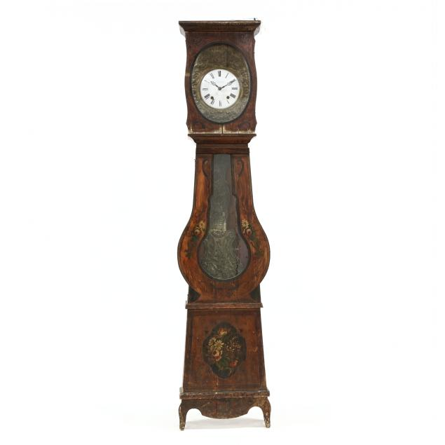 antique-french-painted-tall-case-clock-as-is