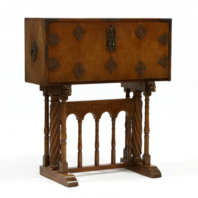 belgium-gothic-style-walnut-desk-on-stand
