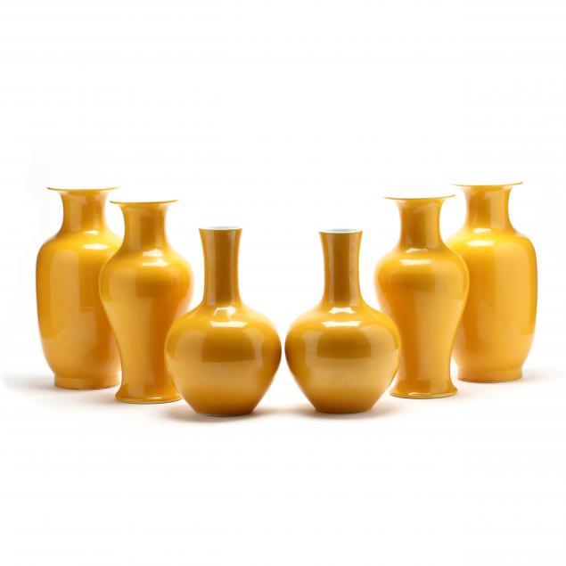 three-pairs-of-chinese-yellow-vases