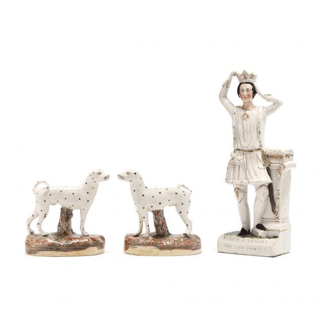 three-english-staffordshire-items