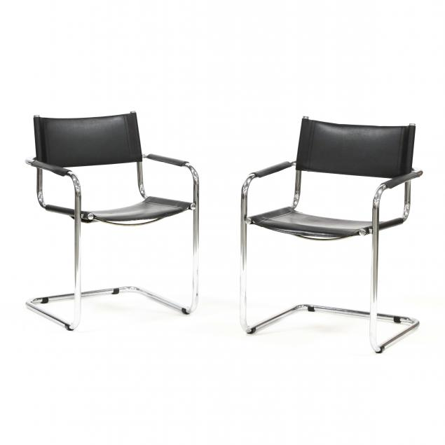 pair-of-chrome-and-leather-armchairs