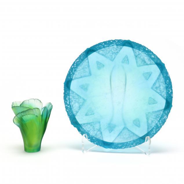 daum-pate-de-verre-glass-dish-and-small-vase