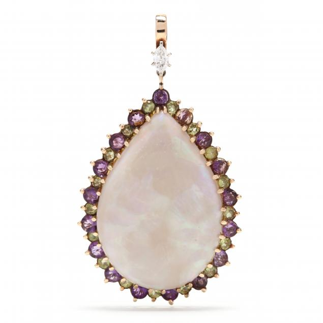 14kt-gold-opal-and-gem-set-pendant