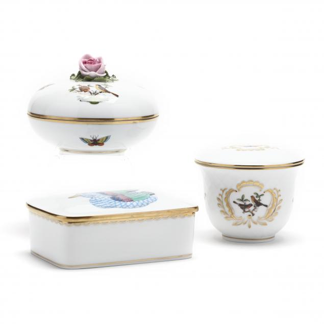 three-herend-porcelain-covered-boxes