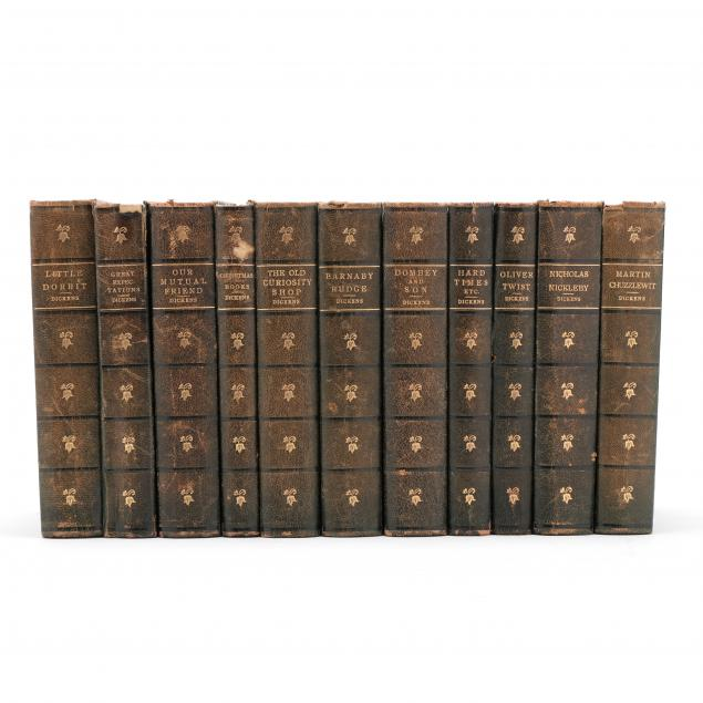 eleven-leather-bound-titles-by-charles-dickens