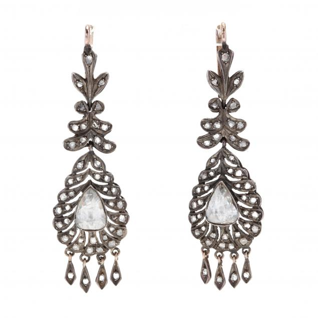 antique-silver-topped-gold-diamond-pendant-earrings