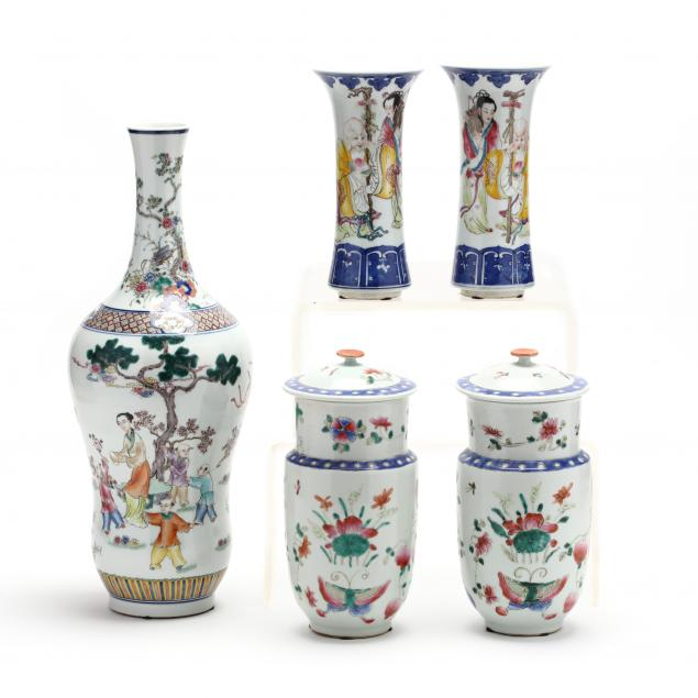 a-group-of-five-chinese-famille-rose-porcelains