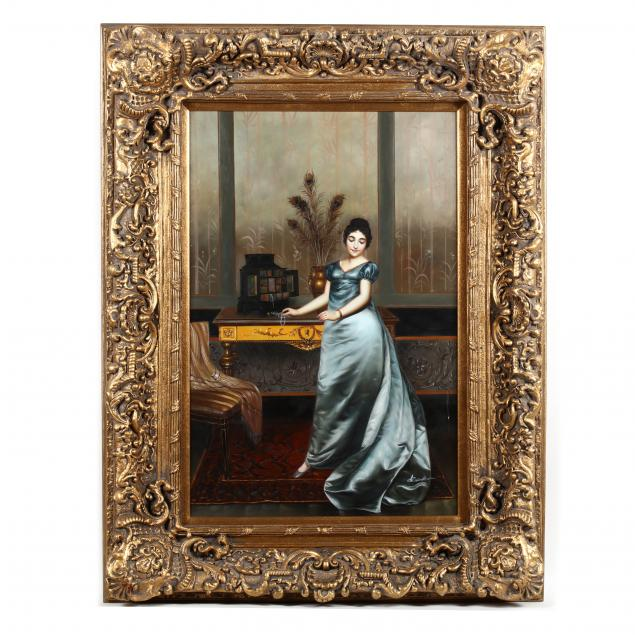 contemporary-continental-school-painting-of-a-young-woman-in-an-interior