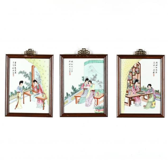 three-chinese-famille-rose-porcelain-plaques