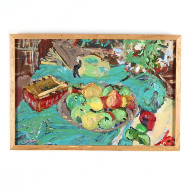 contemporary-still-life-painting-with-pears-and-pitcher