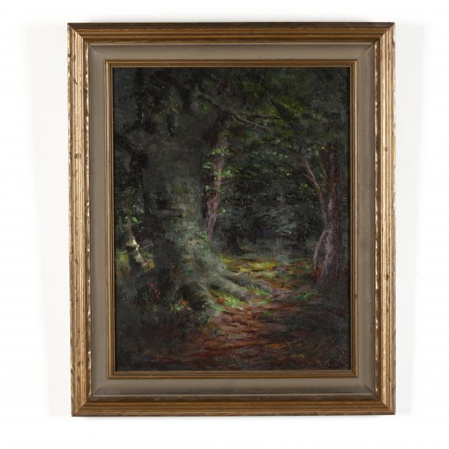 american-school-20th-century-painting-of-a-forest-interior