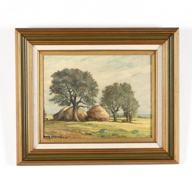 jonas-lindkvist-swiss-1889-1955-landscape-with-haystacks