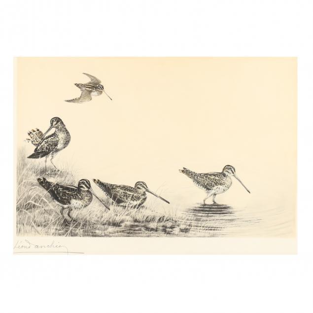 leon-danchin-french-1887-1939-i-woodcocks-by-a-lake-i