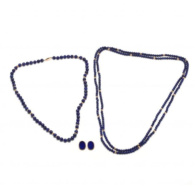 two-gold-and-lapis-bead-necklaces-and-a-pair-of-14kt-gold-and-lapis-earrings