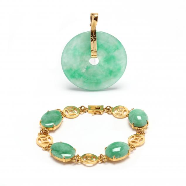 18kt-gold-and-jadeite-bracelet-and-a-gold-and-jadeite-pendant