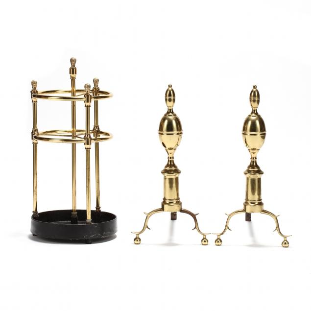 colonial-williamsburg-brass-andirons-and-associated-umbrella-stand