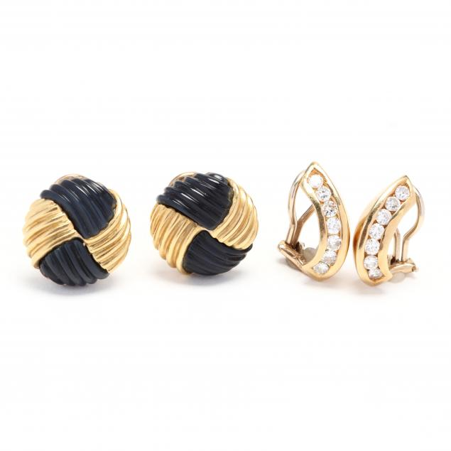 two-pairs-of-gold-and-gem-set-earrings