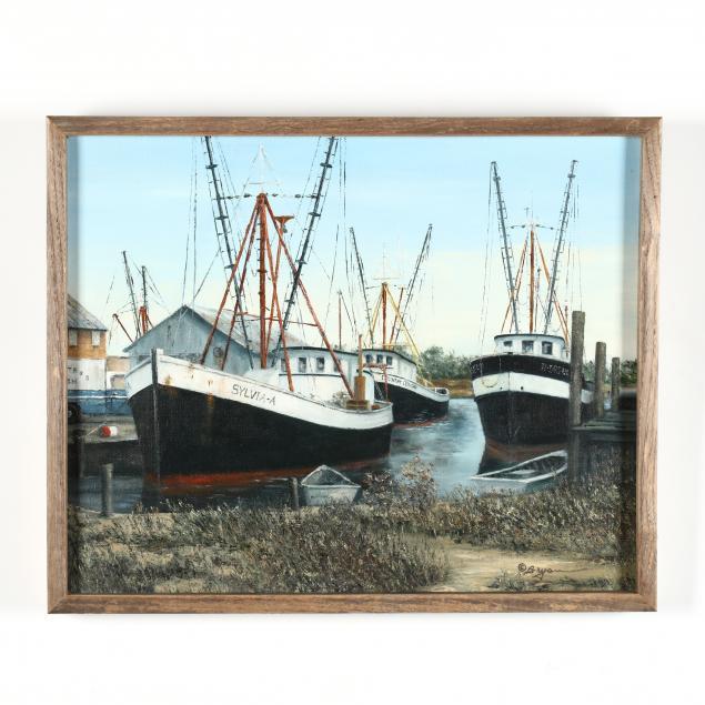 donald-bryan-american-1924-2013-three-fishing-vessels-docked-at-a-marina