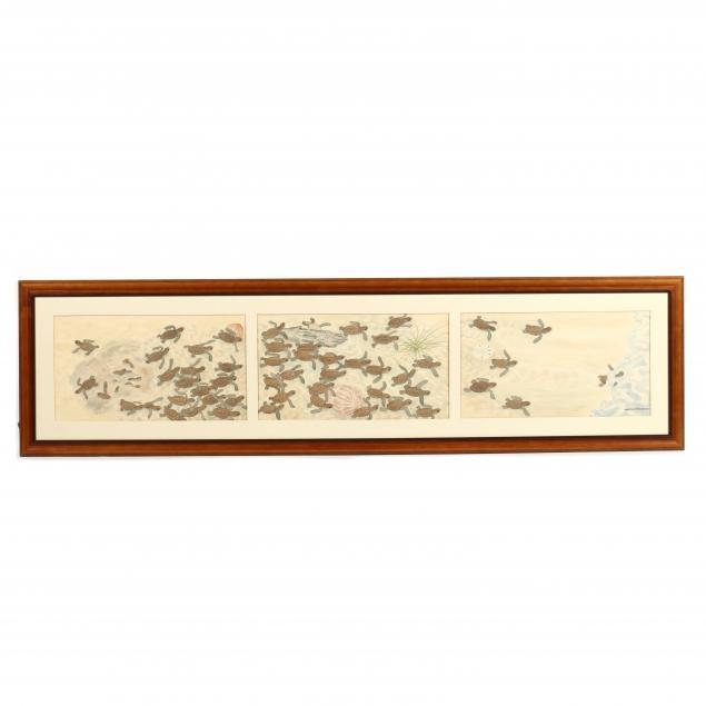malcolm-j-fleming-ny-nc-1913-1993-loggerhead-turtle-hatchings-triptych