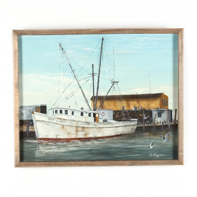 donald-bryan-american-1924-2013-fort-clinch-vessel-docked-at-a-marina