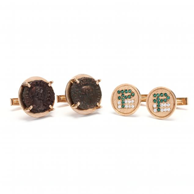 two-pairs-of-gold-cufflinks