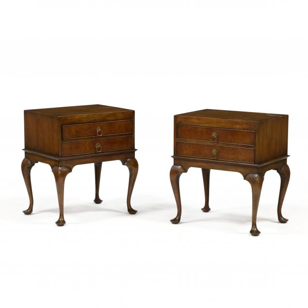 kittinger-pair-of-queen-anne-style-walnut-two-drawer-stands