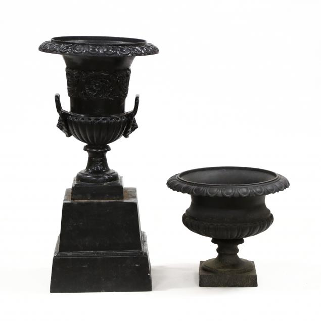 two-classical-style-cast-iron-garden-urns