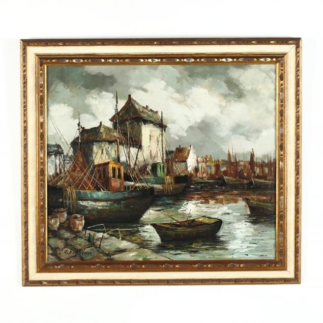a-mid-century-painting-of-a-belgian-harbor