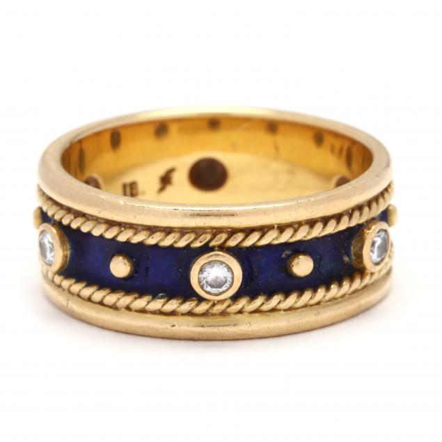 18kt-gold-diamond-and-enamel-ring