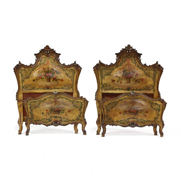 pair-of-continental-rococo-revival-antique-paint-decorated-twin-beds