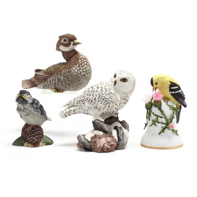 four-small-boehm-porcelain-bird-figurines