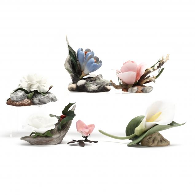 six-boehm-porcelain-flower-sculptures