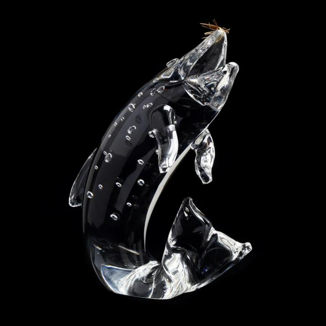 steuben-crystal-and-18kt-gold-trout-sculpture