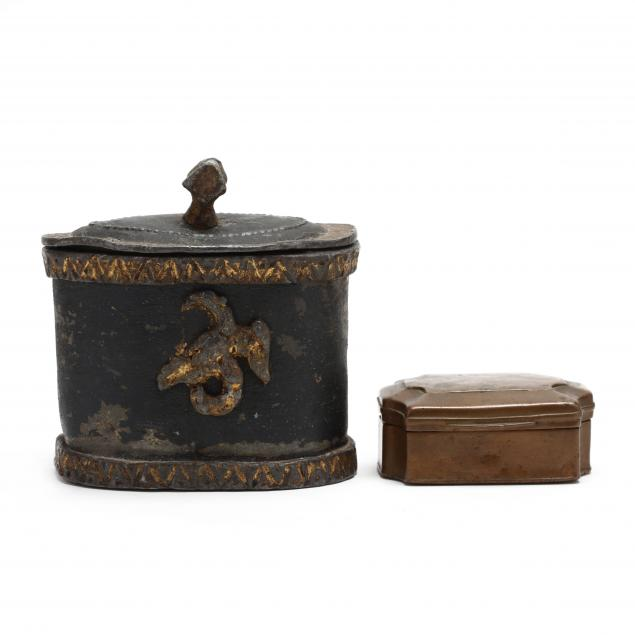 two-antique-metal-boxes