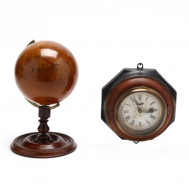 small-wall-clock-and-desk-globe
