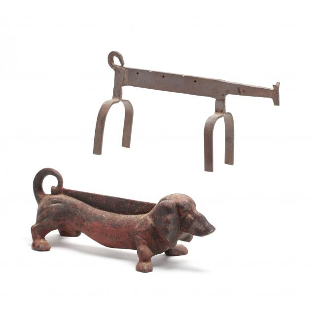 cast-iron-dachshund-boot-scraper-and-a-folk-art-andiron