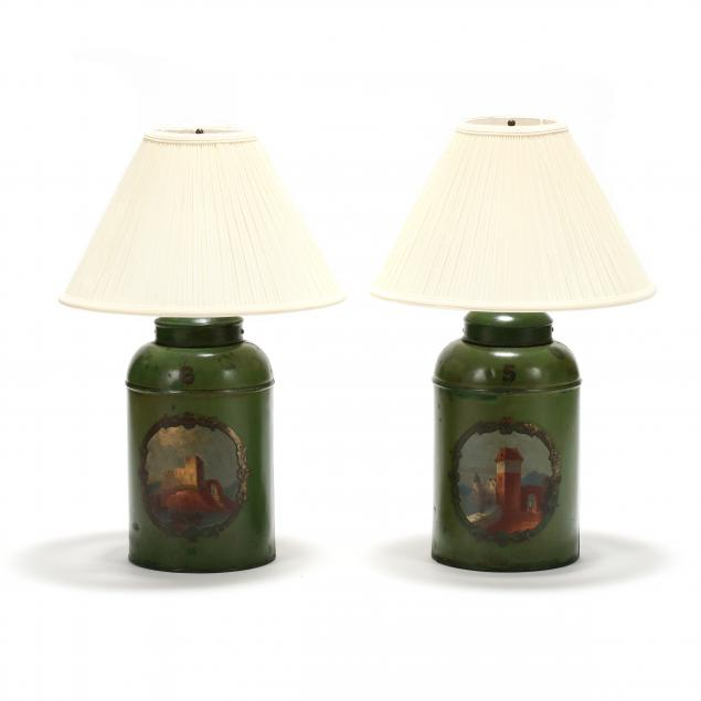 pair-of-antique-tole-ware-tea-canister-table-lamps