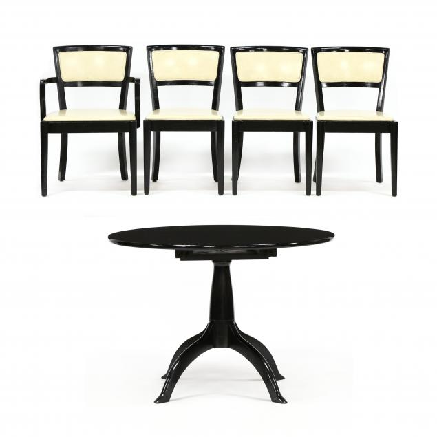 vintage-black-lacquered-dining-table-and-four-chairs
