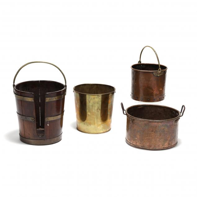 a-grouping-of-four-antique-pails