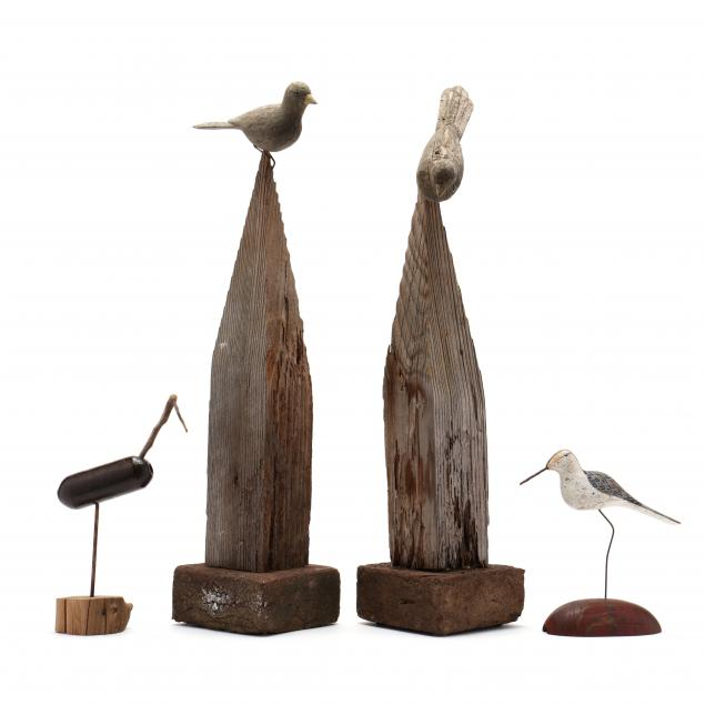 two-shorebird-decoys-and-two-carved-songbirds-with-stands