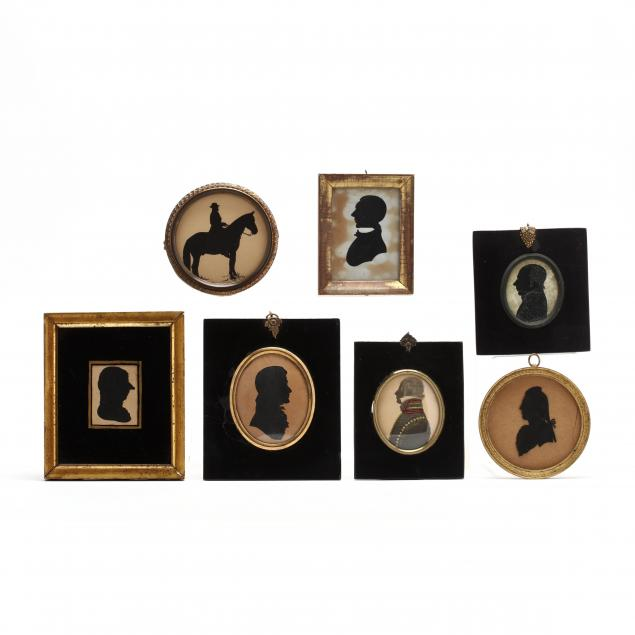 a-grouping-of-seven-antique-silhouettes