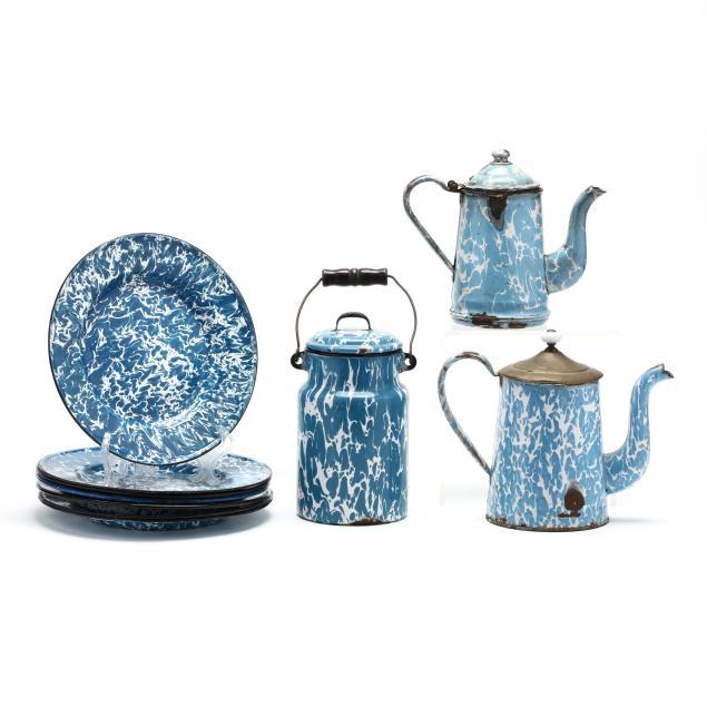 a-group-of-ten-enamel-graniteware-items